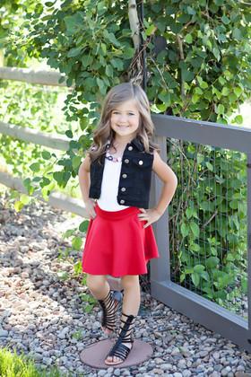 Girls Red Skater Skirt CLEARANCE