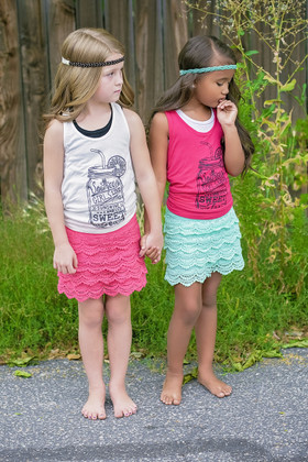 Girls Vintage Lace Shorts/Skirt Coral CLEARANCE