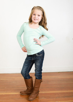 Girls Light Blue Seamless Long Sleeve Top (4-8) CLEARANCE