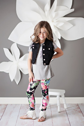 Girls Fashion Vest With Lace Black CLEARANCE