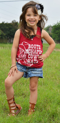 Girls Crimson Boots, Chaps, and Cowboy Hats Tank CLEARANCE