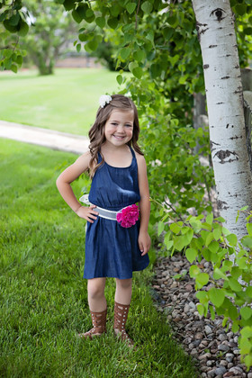 Girls Denim Ruffle Back Tank Dress