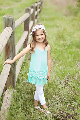 Girls Lace Tiered Cami Dress Mint