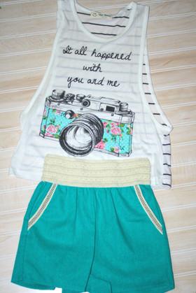 Girls Summer Fun Linen Short Green CLEARANCE