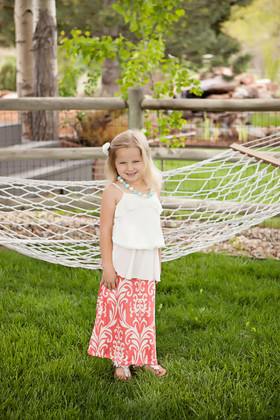 Girls Damask Coral/ White Maxi Skirt CLEARANCE