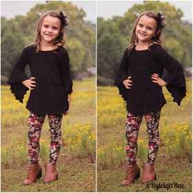 Girls Black Floral Legging