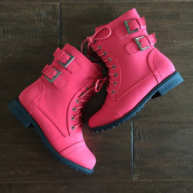 Girls Red Lace Up Buckle Boot CLEARANCE