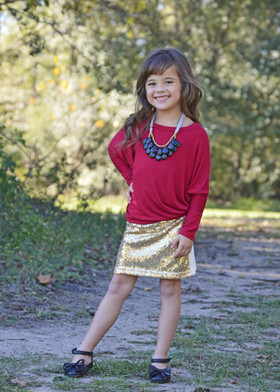 Girls Gold Sparkle Sequins Skirt CLEARANCE