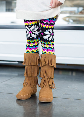Girls Moccasin Fringe Boots Tan
