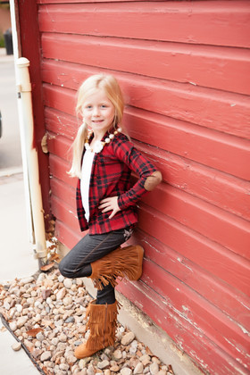 Girls Plaid Cardi With Suede Elbow Patch Red