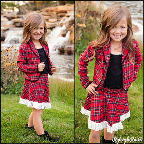 Girls Red Plaid Skirt Set With Lace Hem CLEARANCE