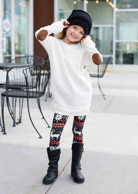 Girls Elbow Patch Terry Sweater Ivory CLEARANCE