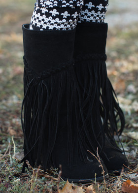 Girls Fringe Heel/Boot Black