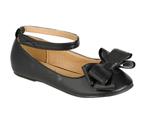 Girls Ankle Strap Flats With Bow- Black