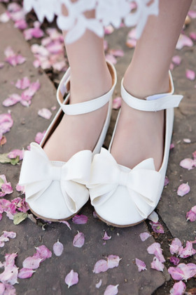 Girls Ankle Strap Flats With Bow- White
