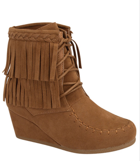 Girls Wedge Heeled Moccasin Fringe Boot- Tan