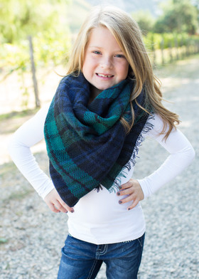 Girls Perfect For Fall Oversized Blanket Scarf-Navy