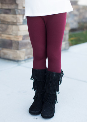 Girls Burgundy Fleece Lined Leggings
