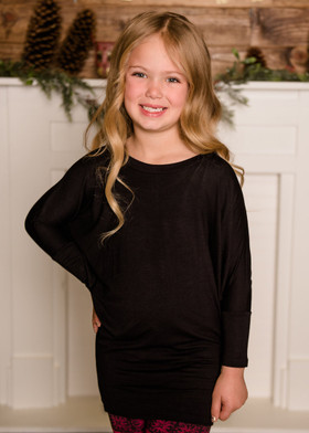 Girls Long Sleeved Dolman Top Black
