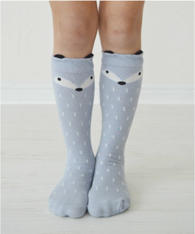 Girls Gray Fox Socks