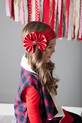 Girls Floppy Bow- Red Shimmer