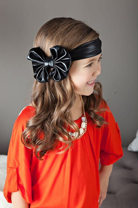 Girls Floppy Bow- Pleather Black