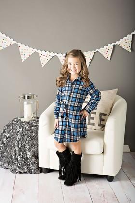 Girls Plaid Flannel Dress W/ Belt- Blue
