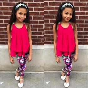 Girls Crochet Back Ruffle Top and Floral Legging 3 Piece Set- Fuchsia CLEARANCE