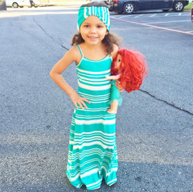 Girls Spring's Here Striped Maxi Dress & Headband- Teal CLEARANCE