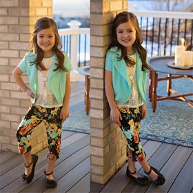 Girls Cap Sleeve Jacket & Spring Capri 4 Piece Set- Mint CLEARANCE