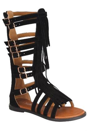 Girls Leather Gladiator Fringe Sandal- Black CLEARANCE