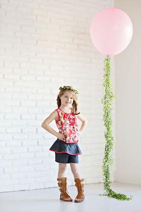 Girls Floral Chiffon Top & Ruffle Short 3 Piece Set- Coral CLEARANCE