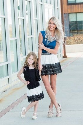 Mommy Lace Contrast Mini Skirt- Black/White CLEARANCE