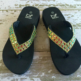 Mommy Sequin Flip Flops- Black CLEARANCE