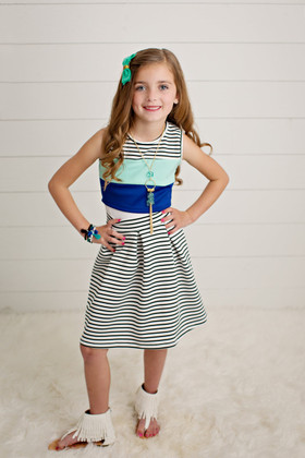 Girls Crop Top and Striped Skirt Set- Blue CLEARANCE