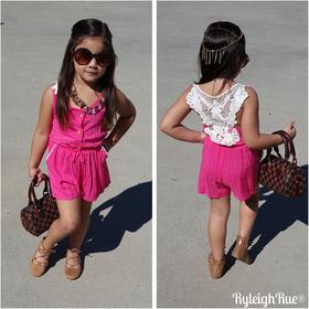 Girls Button Front & Crochet Back Romper- Fuchsia CLEARANCE
