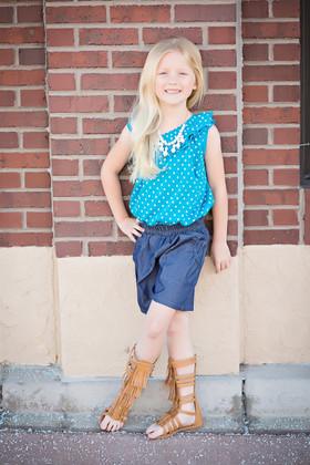 Girls Off Shoulder Polka Dot Contrast Denim Romper- Turquoise CLEARANCE
