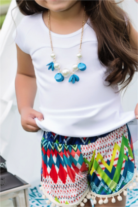 Girls Turquoise Burst and Pearl Necklace