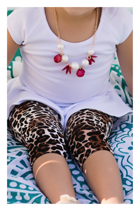 Girls Red Burst and Pearl Necklace