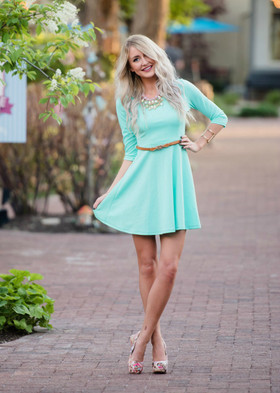 Mommy Summer Dress in Mint With Brown Belt CLEARANCE