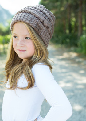 Girls Slouchy Knit Beanie Mocha