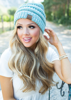 Mommy Slouchy Knit Beanie Light Blue