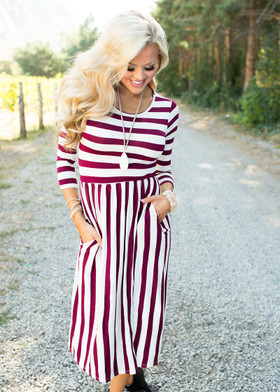 Mommy Falling for Stripes Dress Burgundy CLEARANCE