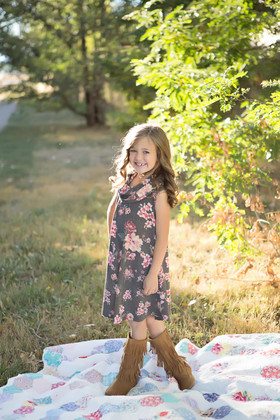 Girls Cowl Neck Floral Tank Dress- Charcoal
