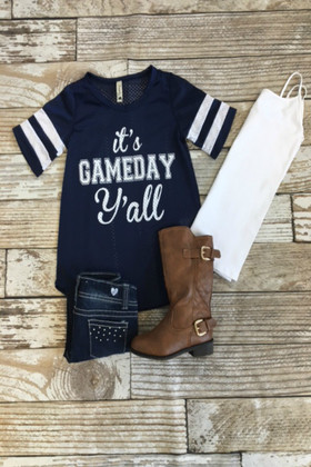 Girls It's Game Day Y'all Top Navy CLEARANCE
