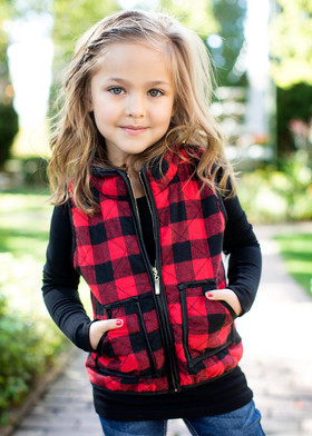 Girls Buffalo Plaid Quilted Vest- Red