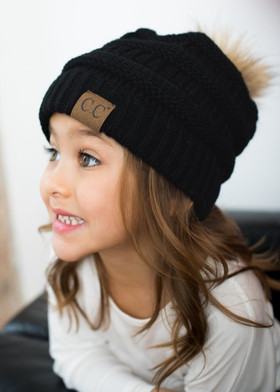 Girls Fur Ball Beanie Black