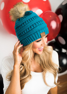 Mommy Fur Ball Beanie Teal