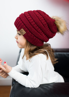 Girls Fur Ball Beanie Burgundy
