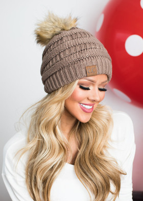Mommy Fur Ball Beanie Taupe